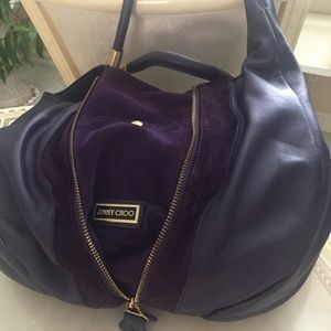 Jimmy Choo purple leather hobo bag